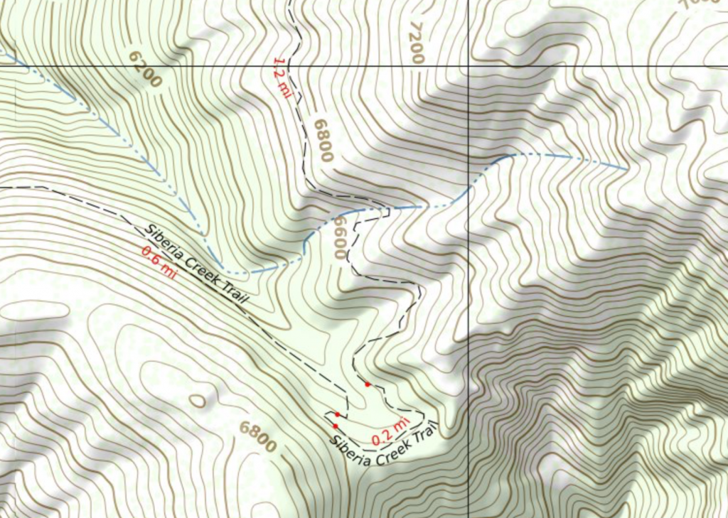 Split hiking trail with multiple distance values.